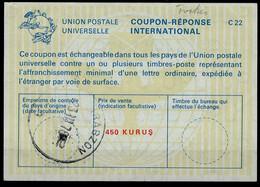 TURQUIE / TURKEY  La22A  450 KURUS  International Reply Coupon Reponse Antwortschein IAS IRC O TRABZON 23.3.78 - Interi Postali