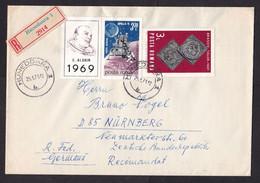 Romania: Registered Cover To Germany, 1971, 3 Stamps, Astronaut Buzz Aldrin, Apollo Space, Moon, Coin (backflap Missing) - Cartas
