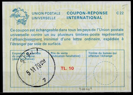 TURQUIE / TURKEY  La22A  TL. 10  International Reply Coupon Reponse Antwortschein IAS IRC O SISLI 5.6.79 - Interi Postali
