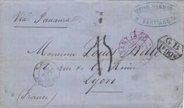 LETTRE. 15 JUIL 1875. SANTIAGO. TIFFOU HERMANOS POUR LYON. VIA PANAMA. 1F90 GB. ANGL. AMB. CALAIS. TAXE 15. LYON 29 AOUT - Chile