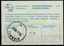 TURQUIE / TURKEY  La22A  TL. 50  International Reply Coupon Reponse Antwortschein IAS IRC O SIRKECI 29.04.85 - Interi Postali