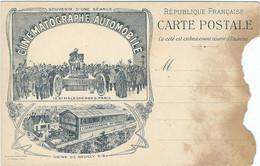 """PARIS, Carte Précurseur(Avant 1900), """"CINEMATOGRAPHE AUTOMOBILE"""", Souvenir D'une Séance... RARE - Altri"""