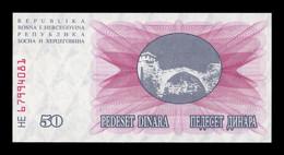 Bosnia Herzegovina 50 Dinara 1992 Pick 12 SC UNC - Bosnia And Herzegovina