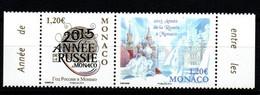 """Monaco 2015 : N° 2954 & 2955 En Paire - """" Année De La Russie """" - Neuf**  En Bord De Feuille - - Nuovi"""
