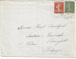Lettre De France Vers RENINGHELST (frontière) Verso WATOU Du 7/10/18 (rare) - Postmarks With Stars