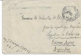 Lettre PMB 4 Du 16/8/18 Vers Légation De Belgique à BUENOS-AYRES - Censure Militire - Other Covers