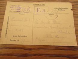1919 : 2 Cartes De Prisonniers De Guerre Oblitérées MARCHIENNE-AU-PONT (19) Et VERLAINE (LIEGE) (18). Censures Des Camps - Krijgsgevangenen