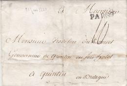 LAC De Paris Du 21/04/1778 Pour Quintin Cotes Du Nord Marque PAR00 Ind 10 70€ - 1701-1800: Précurseurs XVIII