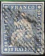 94993aA - SWITZERLAND - STAMP - Zumstein # 23a  Green Thread  / Thin Paper USED - Gebraucht