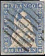 94993aB - SWITZERLAND - STAMP - Zumstein # 23a  Green Thread  / Thin Paper USED - Gebraucht