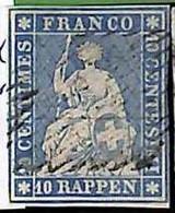 94993bB - SWITZERLAND - STAMP - Zumstein # 23a  Green Thread  / Thin Paper - USED - Gebraucht