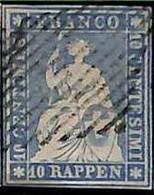 94993bE - SWITZERLAND - STAMP - Zumstein # 23a  Green Thread  / Thin Paper - USED - Gebraucht