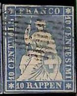 94993bF  - SWITZERLAND - STAMP - Zumstein # 23a  Green Thread  / Thin Paper - USED - Gebraucht