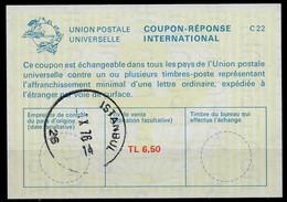 TURQUIE /TURKEY La23A TL. 6,50International Reply Coupon Reponse Antwortschein IAS IRC O ISTANBUL 10.76 - Interi Postali