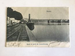 NAMUR 1905  QUAI ET PONT DU LUXEMBOURG   ( BELLE CARTE AVEC UNE PENICHE ET DES RAILS ) - Namur