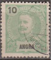 ANGRA (Açores)-1897,  D. Carlos I.  10 R.    D. 11 1/2  (o)  Afinsa Nº 15 - Angra