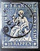 94993cA - SWITZERLAND - STAMP - Zumstein # 23 Green Thread  / Medium  Paper USED - Defective - Gebraucht