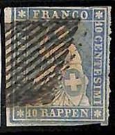 94993cB - SWITZERLAND - STAMP - Zumstein # 23 Green Thread  / Medium  Paper USED - Defective - Gebraucht