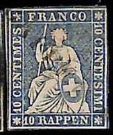 94993cD - SWITZERLAND - STAMP - Zumstein # 23 Green Thread  / Medium  Paper USED - Defective - Gebraucht