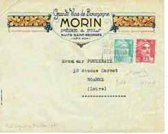 804 + 721 A Marianne Gandon 4 F émeraude + 6 F Rose Daguin Nuit Saint Georges Grands Vins De Bourgogne MORIN - 1945-54 Marianna Di Gandon
