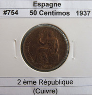 Espagne 50 Centimos 1937 KM 754 - Zone Républicaine