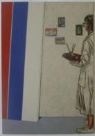 PEINTURE / TABLEAU De Vincent BIOULES - Autoportrait / Homme Avec Palette Peinture - Carte Publicitaire - Pintura & Cuadros