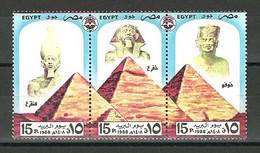 Egypt - 1988 - ( Post Day ) - Pharaohs  - Strip Of 3 - MNH (**) - Archéologie