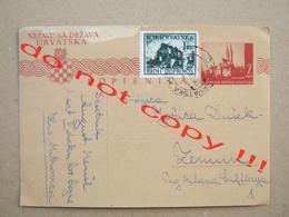 Croatia, NDH, WW2 / Postal Card, Dopisnica ( 194? ) / From Hrvatska Mitrovica To Zemun - Croatia