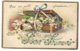Carte Cpa Fantaisie Gaufrée Embossed Fleur Fleurs Muguet Boite - Otros
