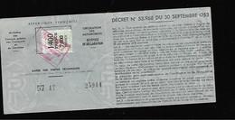 Timbre Fiscal  Fiscaux - Revenue Stamps
