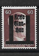 295-allemagne- Effigie Hitler Surcharge GLAU-CHAU Neuf * - Zona Sovietica