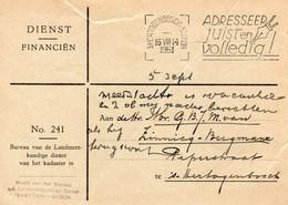 16 VIII 1951 Mach.stempel 's-HERTOGENBOSCH-STATION  Op Dienstbk Met Firmalogo Lokaal Verzonden - Marcophilie