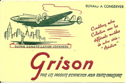 BUVARD BLOTTING PAPER CHAUSSURES PRODUIT ENTRETIEN GRISON AVION SUPER CONSTELLATION  LOCKHEED FOND JAUNE - Schuhe