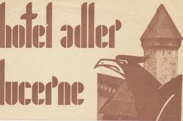 Vignette Publicitaire De L' HOTEL ADLER - LUCERNE - Etiketten Van Hotels