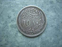 EGYPTE - 10 PIASTRES  1917 - ARGENT - Egypte