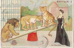 """Le Cirque"""" BOSTOCK'S """" -- Carte Illustrée - """" La Bascule """" - Femme Dompteuse  Et  3 Fauves - Circo"""