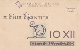 CARTOLINA SAGGIO FRANCHIGIA PIO XII GIUBILEO (XM1061 - Prove & Ristampe