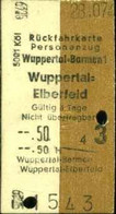 Deutschland 1955 Wuppertal Barmen > Elberfeld Edmondson Rück- Fahrkarte Boleto Biglietto Ticket Billet - Europe