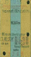 Deutschland 1953 Honnef > Köln Edmondson Sonntags- Rück- Fahrkarte Boleto Biglietto Ticket Billet - Europe