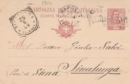INTERO POSTALE 1903 C.10 TIMBRO SINALUNGA SIENA NAPOLI -BANDIERA 1904 (XM1269 - Interi Postali