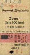 Deutschland 1954 Honnef Rhein Edmondson Eilzugzuschlag- Fahrkarte Boleto Biglietto Ticket Billet - Europe
