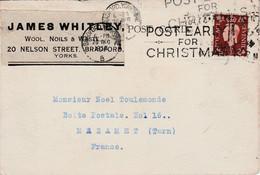 GB SEUL SUR LETTRE DE BRADFORD POUR LA FRANCE 1938 - Briefe U. Dokumente