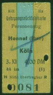 Deutschland 1954 Honnef > Köln Edmondson Lehrgangs-Rück- Fahrkarte Boleto Biglietto Ticket Billet - Europe