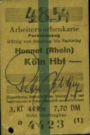 Deutschland 1954 Honnef > Köln Edmondson Arbeiter-Wochen- Fahrkarte Boleto Biglietto Ticket Billet - Europe