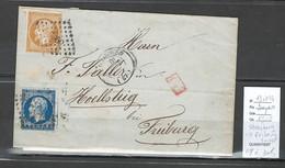 Lettre -Yvert 13 Et 14 - Strasbourg Pour Fribourg En Suisse - 1856 - - 1849-1876: Periodo Clásico