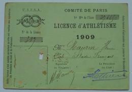 SPORT CARTE DE LICENCE D'ATHLETISME COMITE DE PARIS 1909 USFSA + Statuts Union Sportive De L'Est Charenton St Mandé - Leichtathletik