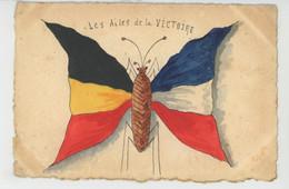"""GUERRE 1914-18 - Jolie Carte Papillon Ailes Aux Couleurs Des Drapeaux De La FRANCE & BELGIQUE """"Ailes De La VICTOIRE """" - Weltkrieg 1914-18"""
