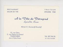 """Paris 8è """"A La Ville De Pétrograd"""" Michèl N. Komaroff-Kourloff, Spécialités Russes Salon De Thé Traiteur épicerie - Pubs, Hotels, Restaurants"""