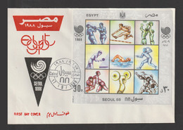 Egypt - 1988 - ( Summer Olympics Seoul 1988 ) - Stamp & S/S - MNH (**) - Cartas