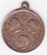 Médaille Exposition Universelle 1867, La Famille Impériale, Napoleon III, Eugenie, Et Le Prince - Royal / Of Nobility